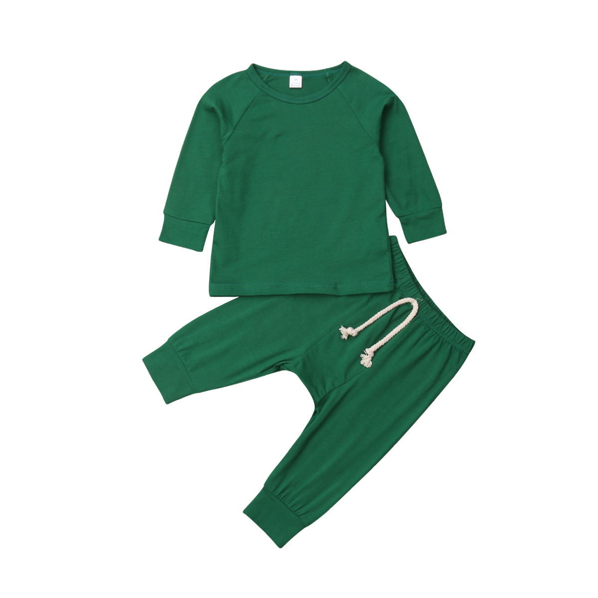 Хлопковый пижамный комплект с длинными рукавами для новорожденных мальчиков и девочек от 0 до 24 месяцев, одежда для сна, одежда для сна, топы и штаны, комплекты одежды для малышей из 2 предметов - Цвет: Зеленый