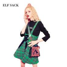 Эльф Sack осень плед vintage юбки узелок-line Мини Ремни юбки женские офисные 2017 повседневная юбка для девочек