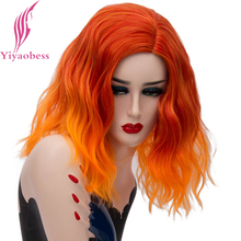 Yiyaobess 16inch Short Orange Ombre Wig Synthetic Wavy Hair Colorful Rainbow Cosplay Wigs For Women High Temperature Fiber