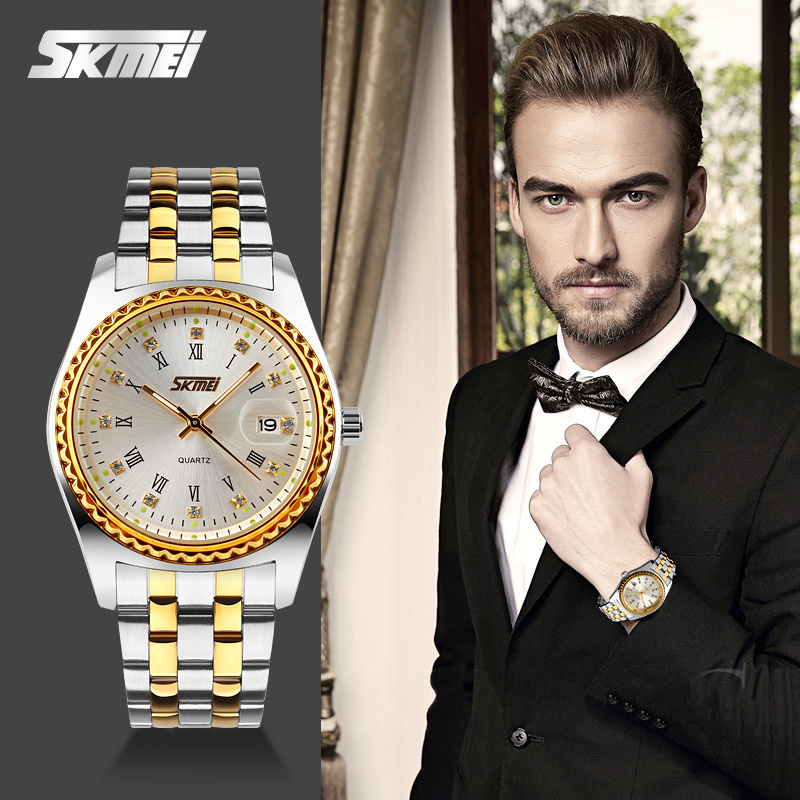 Hot New Luxury Brand Watch Skmei Quartz Men Full Steel Wristwatches Dive 30m Casual Watch Relogio Masculino Mujer Gold Color skmei 9069 men quartz watch men full steel wristwatches dive 30m fashion sport watch relogio masculino 2016 luxury brand watches