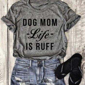 Mamã do cão Vida É Ruff Letra Impressa O-pescoço T-Shirt 2018 Mulheres moda Manga Curta Casuais Top Tee Todos Matched Cinza Básico T camisa