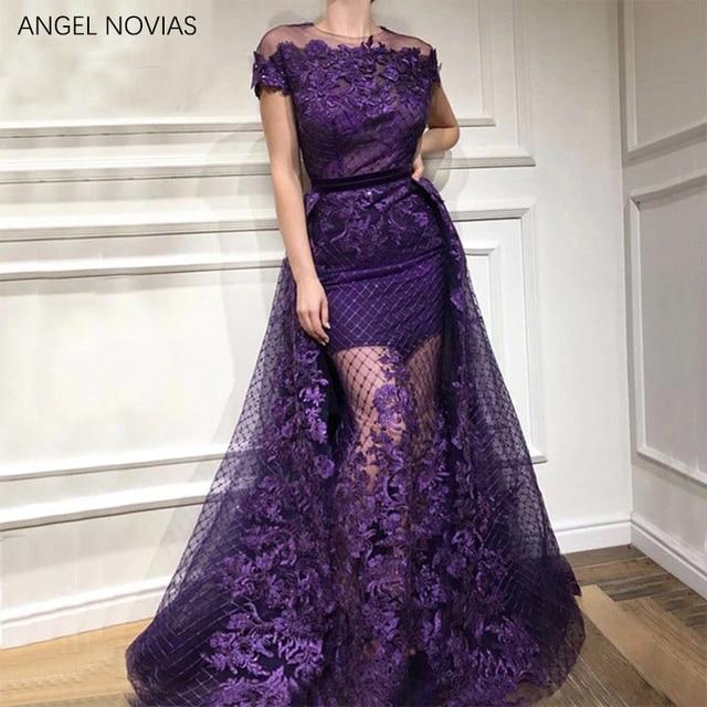 c27f6b8d3630 ANGEL NOVIAS Long Oman Arab Elegant Purple Lace Evening Dress 2019 Dubai  Formal Wedding Party Gowns abend kleider 2018