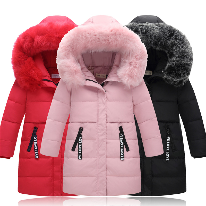 Girls Winter Jackets For Children Thick Faux Fur Collar Duck Down Coat Princess Warm Parka Baby Outerwear Hooded Kids Clothes women winter coat leisure big yards hooded fur collar jacket thick warm cotton parkas new style female students overcoat ok238