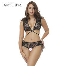 MUSHIERYA Sexy Erotic Underwear Sex Lingerie Set Women Lace Bralette Bra with G-string Porno