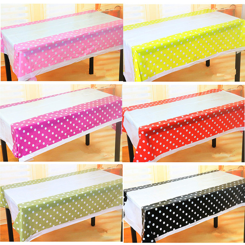 Billige Polka Dot Plastic Table Cloth Kids Fødselsdagsdekorasjon Baby Shower Decoration Supplies Engangsduk W