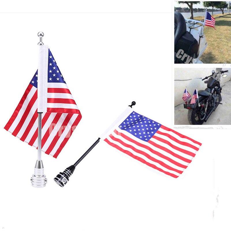 Motorcycle Rear Side Mount Luggage Rack Vertical Flag Pole American For Harley Custom Bobber Chopper Touring Road King Glide