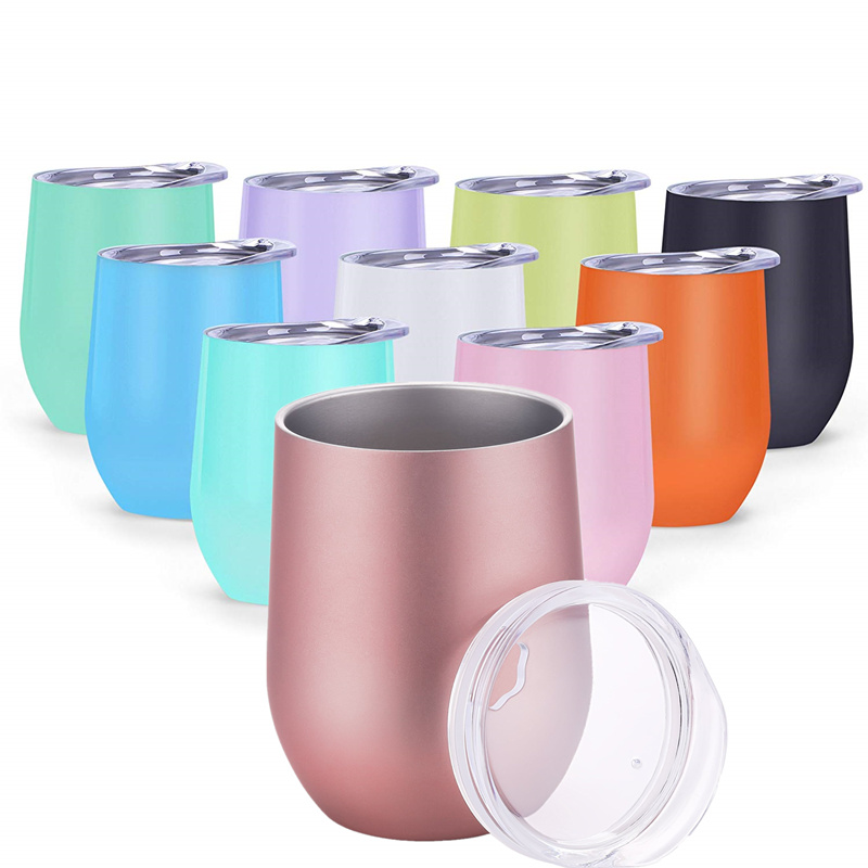 12 oz Double-insulated Stemless Glass Stainless Steel Tumbler Cup with Lid for Coffee Cocktails Stemless Wine Glass Tumbler cup