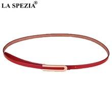 LA SPEZIA Genuine Leather Belt Women Red Smooth Buckle Belt Derss Ladies Real Leather Cowhide Thin Fashion Female Belt Jeans цена и фото