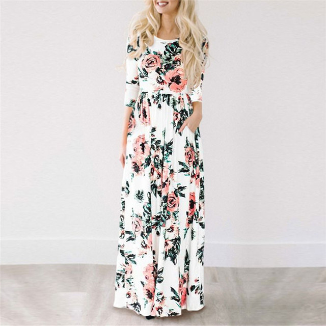 Summer Long Dress Floral Print Boho Beach Dress Tunic Maxi Dress