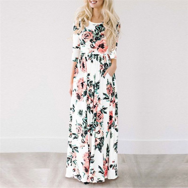 2018 Summer Long Dress Floral Print Boho Beach Dre...