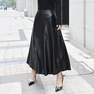 Image 2 - Pantalones de lujo de alta calidad para Mujer, pantalón hasta el tobillo, de piel auténtica, Pantalones de pierna ancha de cintura, informales, holgados, 2020