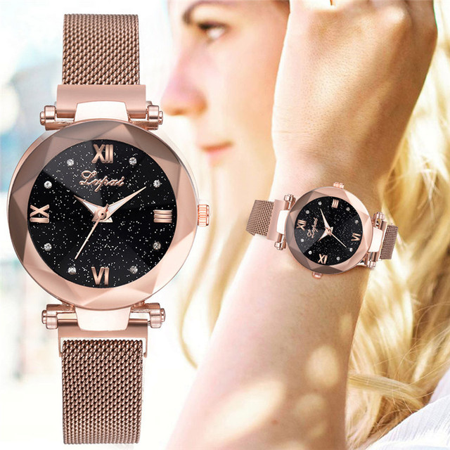 Fashion Starry Sky Women Watches Magnet Buckle Stylish Rose Gold Female Casual Q
