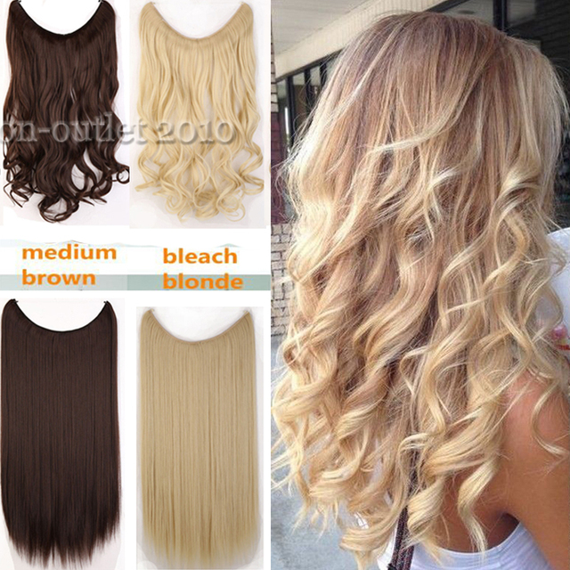 Long Curly Piece Secret Wire Hair Piece Hair Extensions Full Head ...