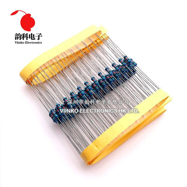 100 pces 75 ohms 1/4 w 75r metal filme resistor 75ohm 0.25 w 1% rohs