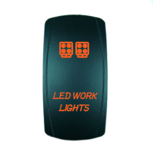 Alta calidad 5 pin laser orange rocker toggle switch led luces de trabajo 20a 12 v on/off luz led [kg-017-4]