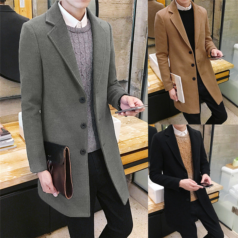 fashion Men Autumn Winter Formal Single Breasted Figuring Overcoat Daily casual Long Wool Jacket Outwear Top #4M25 (1)