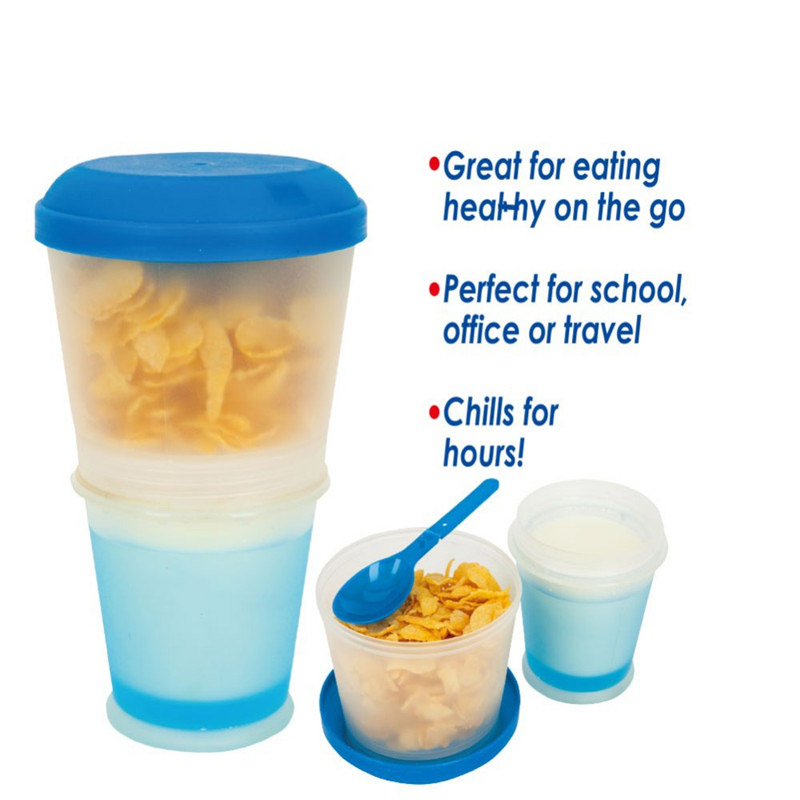 Cereal On The Go Food Cup Water Bottle Folded Spoon&Gel