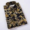 Nueva 2016 Otoño hombres de la marca de ropa de los hombres camisa de Manga Larga Delgada floral ocasional camisa de algodón de los hombres camisa de vestir camisa más tamaño 5XL