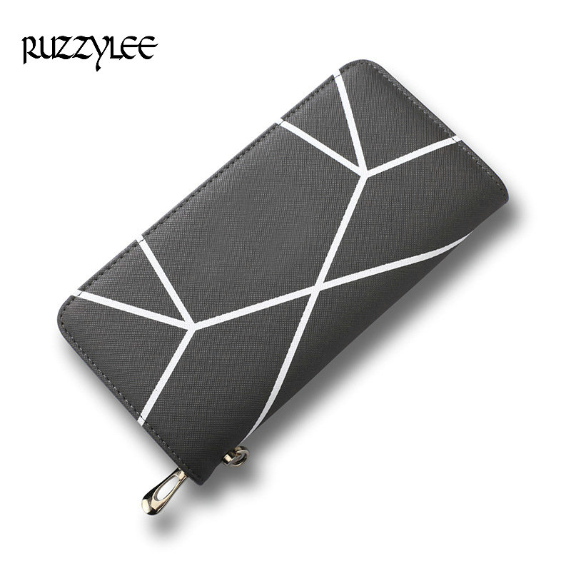 New Wallet Woman Long Hasp Coin Purse Women Luxury Leather Female Wallets Striped Design Brand Lady Purses Clutch Card Holder women leather wallets v letter design long clutches coin purse card holder female fashion clutch wallet bolsos mujer brand