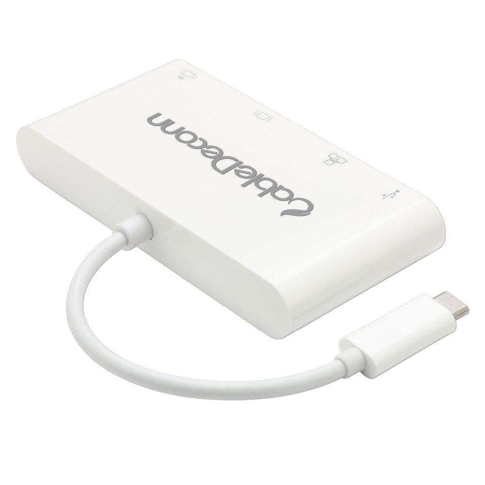 USB-C Hub Dock Thunderbolt 3 to HDMI 4K VGA USB3.0 Hub Gigabit Ethnernet RJ45 1000Mbps Converter Cable Adapter for Macbook 2017