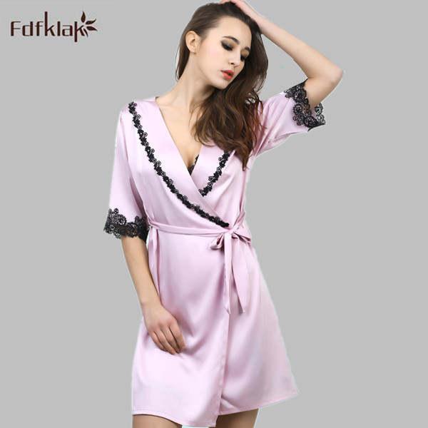 b72f8b26b1 2016 New Europe Dressing Gowns For Women Short Satin Robe Sexy Silk Bath  Robe Spring Summer