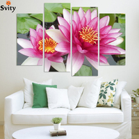 4 Panel Wall Art Pictures Botanical Red Feng Shui pink lotus Oil Painting On Canvas The Picture For Living Room Decoration