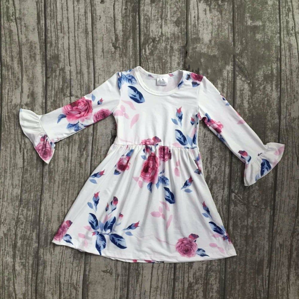 new fall/winter baby girls milk silk soft cotton dress white floral flower print ruffle long sleeve children clothes boutique fall winter baby girls milk silk soft cotton dress white reindeer floral print ruffle long sleeve children clothes boutique kids