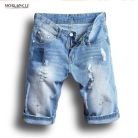 MORUANCLE 2017 Summer Men's Ripped Denim Shorts Painted Distressed Jean Shorts Male Light Blue Cropped Jogger Shorts Size 28-38