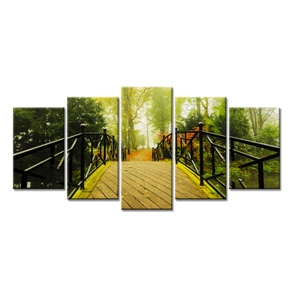 5 Pieces Canvas Painting Wall Art Autumn Trees The Arch Bridge ...