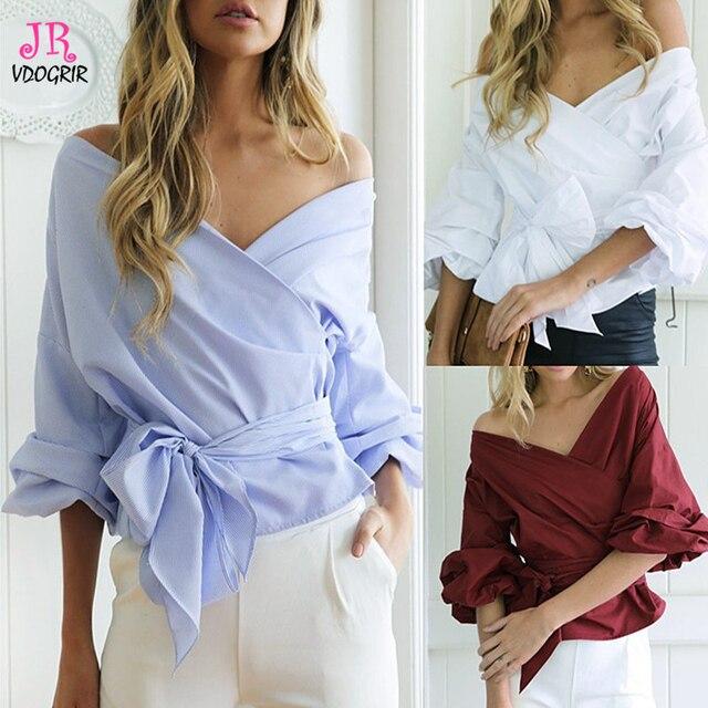 9321d58da5dc16 VDOGRIR Brand New White Blouse Shirt For Women Office Lady Lantern Sleeves  Bow knot Sashes Big V-neck Collar blusas Tops