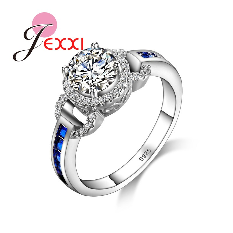 JEXXI Exquisite Women Jewelry White CZ Crystal Sapphire Zirocn Wedding Rings 925 Sterling Silver Finger Ring For Party Bijoux