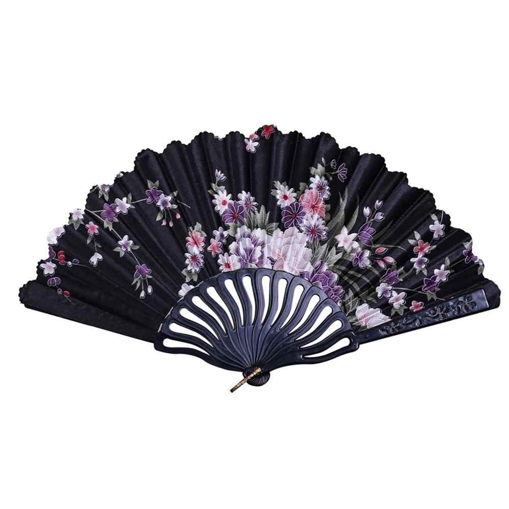 Summer Chinese/Spanish Style Dance Wedding Party Lace Silk Folding Hand Held Flower Fan Gift Colorful Dropshipping 5pz