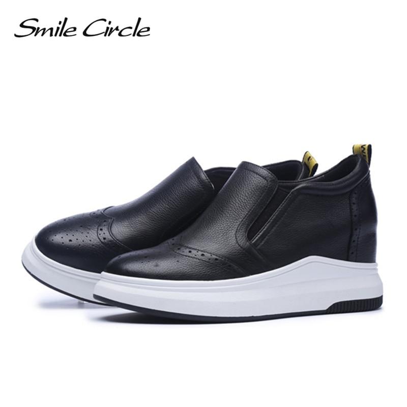 Mode Compensées Haut En Cercle Chaussures Noir Cuir Talon Espadrilles blanc Véritable De 2018 Occasionnels Plate Sourire Femmes forme vBxq55