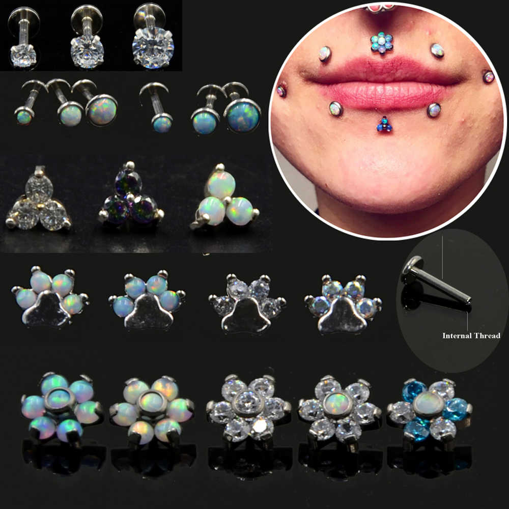 1pc Prong Setting Zircon Opal Ear Helix Tragus Cartilage Stud Earrings Internally Thread Labret Monroe Lip Stud Piercing Jewelry