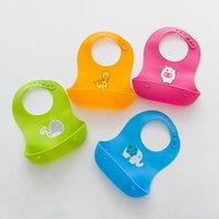 Baby Silicone Waterproof Adjustable Infants Oil-Proof Cartoon Bibs Baby Kids Lunch Bibs