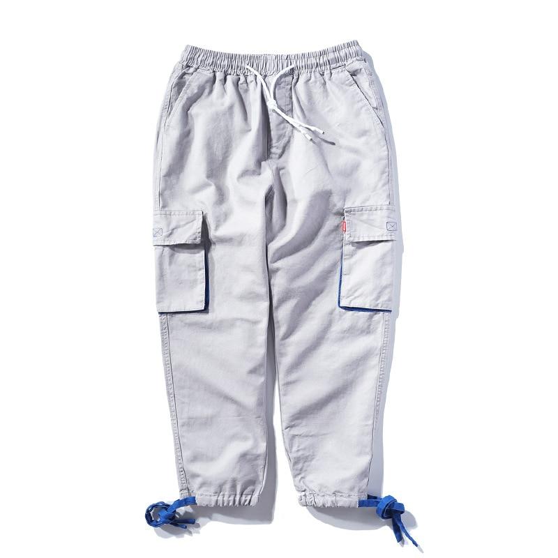 Hombres Pantalones Moda Estilo Color Japonés Hip Hop Elástica gray Gran Camisetas Cintura Americano Negro Streetwear De Hombre Bolsillo Gris xgt5pBXq