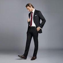 62c51e21cb Por encargo trajes casual elegante negro trajes de negocios boda chaqueta  clásica chaqueta hecha a medida hombre terno pantalón .