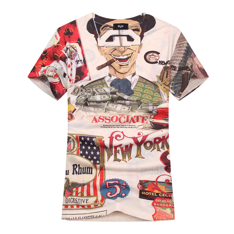 a5a648f9dae3 Personalized Patchwork Print Men s T shirt Printing Tee V Neck T-Shirt  Short Sleeve Shirt Summer Pullover Top Tee NEW YORK 2015