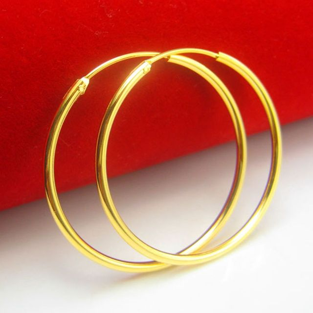 70bf9e07f 4cm Large Circle Sexy Earrings Yellow Gold Filled Smooth Plain Round Womens  Hoop Earrings Fashion Gift