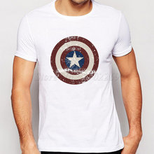 2015 neue mode Captain America Stil Schild design männer t-shirt the avengers vintage männlichen tops kurzarm casual t-shirts(China)