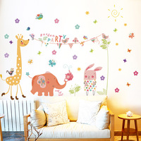 Fundecor Garden Party Wall Stickers For Kids Rooms Baby Room Bedroom Living Room Flower Clouds