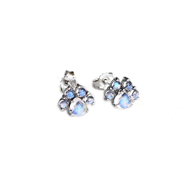 100 925 Sterling Silver Earring Lady Natural Nepal Moonstone Cute Cat Claw Fashion Earrings for Women