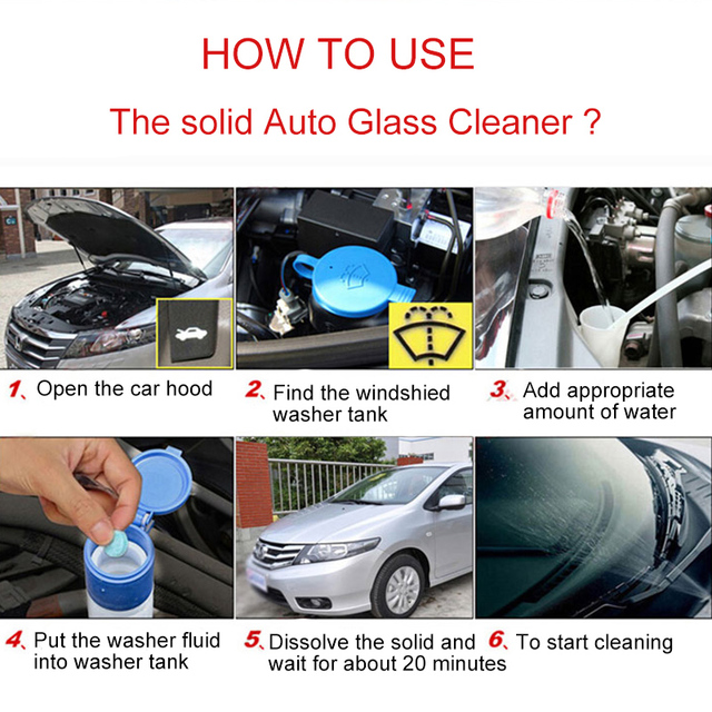 Solid Washer Concentrate Making Up Car Windshield Washer Fluid Windscreen Cleaner Screen Wash Wiper Fluid ( 6 pcs / Pack )