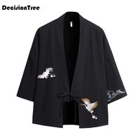 2019 new mens coat kimono cardigan coat japan vintage windbreaker patchwork male jackets clothes