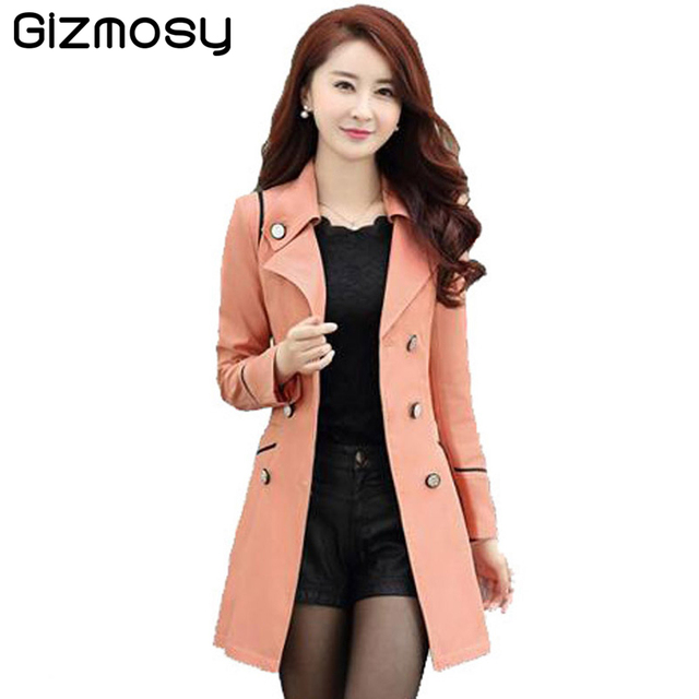 Spring Autumn Trench Coat For Women 2016 Fashion Turn-down Collar Double Breasted Candy Color Long Coats Plus Size Trench BN034