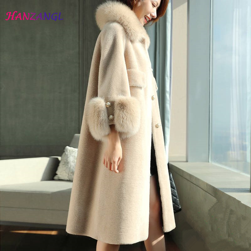 HANZANGL 2019 Winter Wool Coat Women's Faux Fur Coat Long Sleeve Fox Fur Collar Warm Cashmere Jacket Long Overcoat 8 Color S-4XL