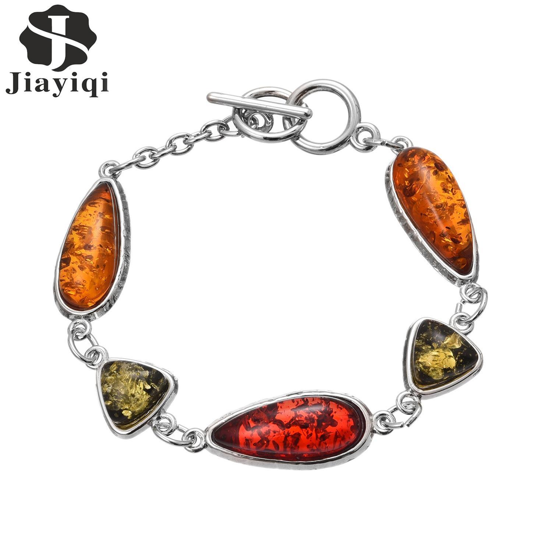 Women's Stylish Baltic Faux Amber <font><b>Honey</b></font> Flossy Multicolor Charm Bracelets Colorful Waterdrop <font><b>Heart</b></font> Resin Bangle <font><b>for</b></font> Party