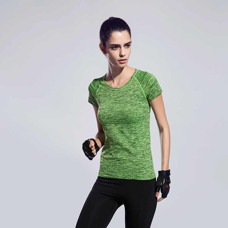 Detector  Women sports Tees Dry Quick Elastic Compression Gym T-Shirt Tops Fitness Short Sleeve T Shirt Singlet Running TShirt