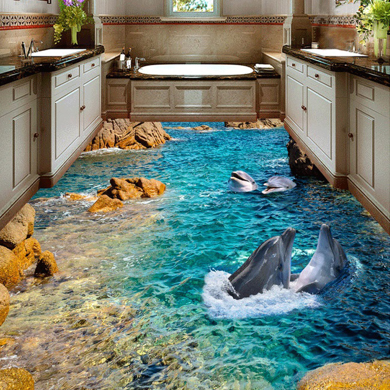 Custom HD Dolphin Seaview 3D Floor Stickers Hotel Bathroom 3D Self-adhesive PVC Non-slip Wear Waterproof Floor Mural Wallpaper