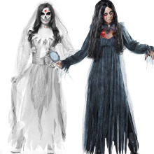 Halloween New Horror Ghost Bride Zombie Costume Game Suit Bar Stage Vampire Demon Costume купить недорого в Москве